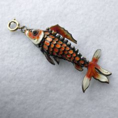 Articulated Enamel Chinese Fish Charm Pendant