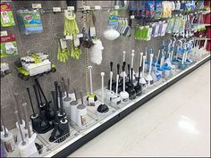 This retailer's Category Manager has determined greater style choices among Toilet Bowl Cleaning Brushes drives sales. Here no less than 11 offerings grace the Aisle corralled and contained by Shel. Kitchen Essentials List, Kitchen Supply Store, Clean Toilet Bowl, Supermarket Design, Fruit Shop, Showroom Design, Toilet Brush, Kitchen Supplies, Confectionery