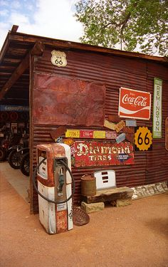 "Route 66 - Garage And Pump, Hackberry, Arizona. Road trip! ""The Fine Art Photography of Frank Romeo."""