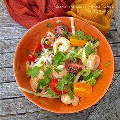 Salade van groene papaja, scampi en rijstnoedels