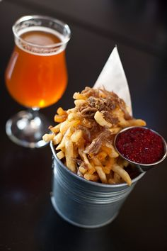 Beer Belly Duck Fat Fries - Smoked Salt, Sweet Onion Sugar, Duck Skin Cracklins, Raspberry Mustard and what looks to be a deliciously hoppy ale