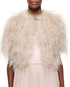 Ted Baker London Feather Crop Shrug, Pale Pink