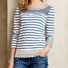 Anthropologie Shiloh Embroidered Top Striped top by Little Yellow Button. Worn and washed once, in perfect condition. Sorry, no trades Anthropologie Tops Tees - Short Sleeve