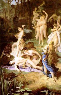 ***Émile Lévy. La muerte de Orfeo, 1866. París, Museo de Orsay.