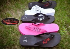 Monogram Flip Flops by SportzCrazyMama on Etsy, $18.00