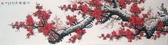 A traditional Chinese painting of Red Plum Blossoms Heralds Spring for sell from China. Cute Twitter Headers, Cute Headers, Twitter Banner, Twitter Backgrounds, Twitter Header Photos, Twitter Layouts, Kpop Anime, Wattpad Background, Chinese Flowers