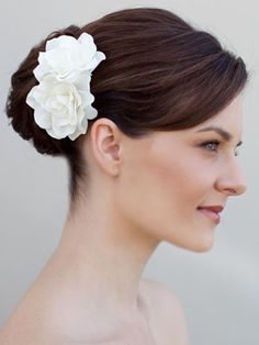 Double Gardenia Hair Flower Comb by Hair Comes the Bride