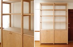 SCOUT REGALIA – SR Bookcase- high end, but very IVAR-like. Note shelf above cabinets attachment to frame and lack of peg holes