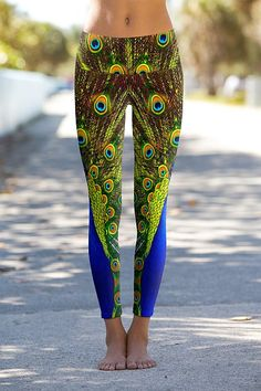 Peacock Twins - Printed Performance yoga Leggings available online at OmShantiClothing.com #bird #Peacock