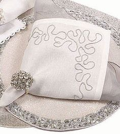 Designer Placemats and Napkins   loop ribbon napkin this 100 % pure linen white napkin features a ...