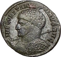 LATE ROMAN COIN: Constantine the Great. Notice the crosses on Helmet 318 CE.