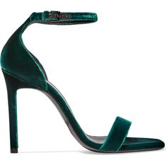 Saint Laurent Amber velvet sandals ($665) ❤ liked on Polyvore featuring shoes, sandals, saint laurent, ankle strap sandals, yves saint laurent, ankle wrap sandals, square toe shoes and velvet shoes