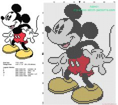Disney Mickey Mouse smiling free cross stitch pattern 69 x 100 stitches 5 DMC threads
