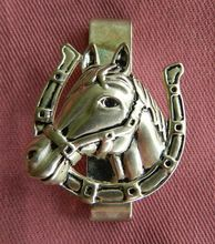 Vintage money clip, horse head set atop horse shoe