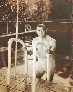 Boris Karloff in the pool at his home