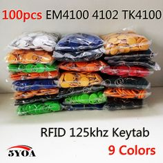 100pcs RFID Tag Proximity ID Token Tags Key Keyfobs Ring 125Khz RFID Card Chip ID em4100 for Access Control Time Attendance
