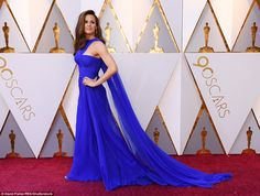 Statement: Jennifer Garner sizzled in her electric blue frock, complete with a ruched bodice and cape accent