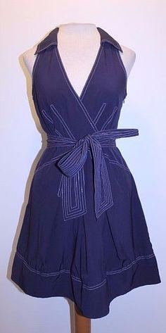 Ark & Co Dress M Blue Navy Nylon Blend Tie Waist V Neck Sleeveless Dress  #ArkCo #ALine #Casual