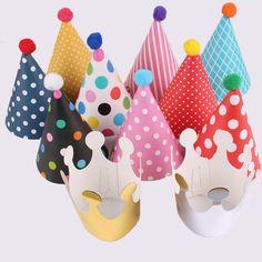 11pcs Polka Dot Striped Party Hats Kids Birthday Decorations DIY Korean Cute Paper Cap Crown Christmas Frozen Halloween Supplies