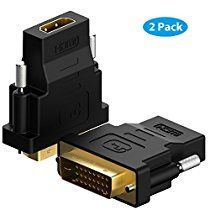 DVI to HDMI, Rankie 2 Pack Gold-Plated 1080P DVI to HDTV HDMI Male to Female Adapter Converter