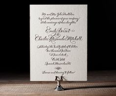 Classic Calligraphy by Debi Zeinert is a letterpress wedding invitation with traditional calligraphy script and timeless elegance.