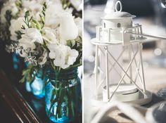 Mason jar vases and lighthouse lanterns SPH grounds
