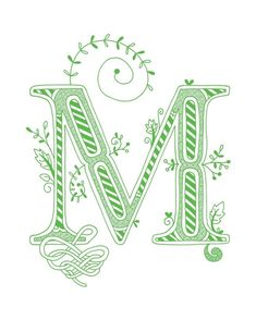 Hand drawn monogrammed print, 8x10, the Letter M, in the color green
