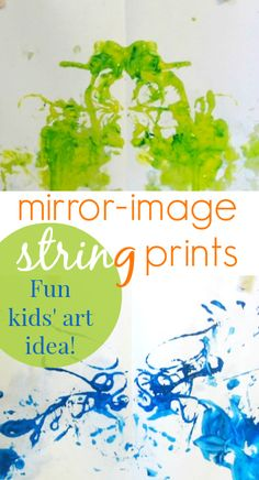 String Painting Ideas for Kids - Mirror Image String Prints