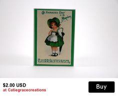 www.etsy.com/listing/224180185/mini-green-st-patricks-day-card-vintage   #craftshout0227