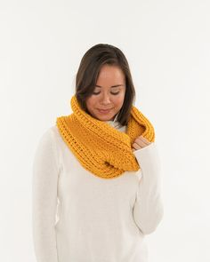 Vegan Chunky Crochet Infinity Cowl Mustard by BrennaAnnHandmade