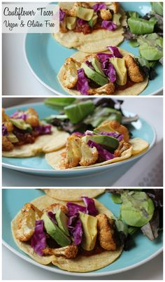 These roasted cauliflower tacos are packed with healthy ingredients and delicious flavor! They're vegan & gluten free and only take a few minutes to assemble!