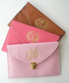Clutch Purse with Detachable Chain Monogram Gifts Graduation Gift Under 30 Dollars