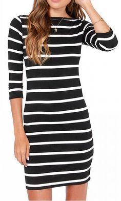 Black Contrast White Striped Dress