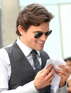 Lol... Wonder what has he got so funny there... #mattbomer