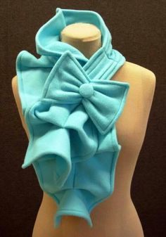 Fleece ruffle bow scarf.  No pattern