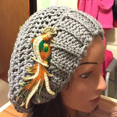 Crocheted Slouch Hat.  SALE Hand crocheted gray slouch hat  unisex. Brooches not included Handmade Accessories Hats
