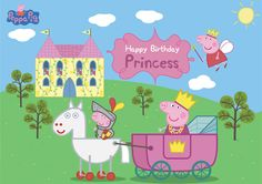 Check out our peppa pig princess selection for the very best in unique or custom, handmade pieces from our party décor shops. Peppa Pig Princesa, Cumple Peppa Pig, Happy Birthday Princess, 3rd Birthday, Peppa Pig Castle, Party Printables, Peppa Pig Images, Peppa Big, Pig Party