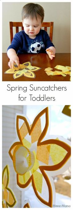 Guest Post Toddler-Made Spring Suncatchers - Lovely daffodil suncatcher for kids to make and decorate windows in spring! La mejor imagen sobre d - Daycare Crafts, Preschool Crafts, Kids Crafts, Fall Preschool, Preschool Classroom, Spring Theme, Spring Art, Spring Nature, Spring Crafts For Kids