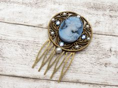 Kamee Haarkamm mit Kristallen Antik Stil blau von Schmucktruhe