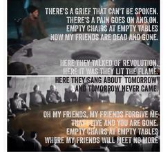 """""""Empty Chairs"""" from Les Miserables for Merlin. OUCH! MY HEART!"""