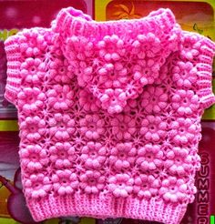 Crochet puff flower Sweater + Diagrams + Free Pattern Step By Step - Knitting Pull Crochet, Crochet Girls, Crochet Baby Clothes, Crochet For Kids, Knit Crochet, Crochet Hats, Crochet Stitches, Crochet Cardigan, Crochet Puff Flower