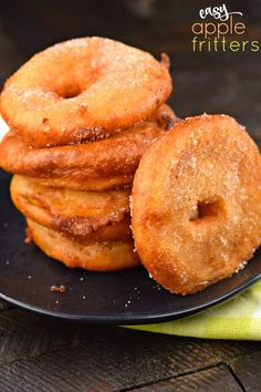 Delicious Apple Ring Fritters start with juicy apples and a buttermilk batter before frying to a golden brown! Then coat them in sugar and serve with your favorite caramel or chocolate dippers! Plus, no need for a deep fryer. Apple Fritter Recipes, Donut Recipes, Best Dessert Recipes, Apple Recipes, Brunch Recipes, Baking Recipes, Baking Ideas, Dessert Ideas, Sweet Recipes