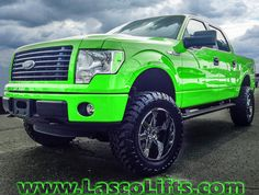 """Would you go GREEN?? Lasco Lifts F150 with 6"""" lift, 20"""" wheels, and 35"""" Off road tires.  www.lascolifts.com"""