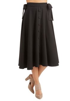 The Chicer, the Better Skirt. As far as youre concerned, an outfit can never have too much panache - and this black midi skirt agrees! #black #modcloth