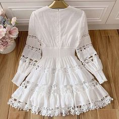 Vacation Beach Cotton White Mini Dresses Hollow Out Floral Dot ydeep VNeck Dress Spring Summer Women Frock Fashion, Fashion Dresses, Indian Designer Outfits, Designer Dresses, Nice Dresses, Casual Dresses, White Mini Dress, Spring Dresses, Beautiful Outfits