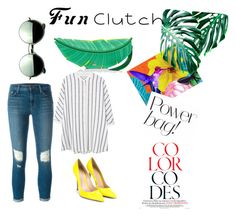"""""""○FUN CLUTCHES○"""" by duruxxx on Polyvore featuring Kate Spade, MANGO, J Brand, Gianvito Rossi and Revo"""