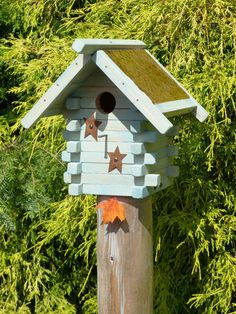 Rustic Log Cabin Bluebird Bird house with copper by OutOnALimbADK, $36.00