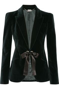 Alexander McQueen | Ribbon-trimmed velvet jacket | NET-A-PORTER.COM