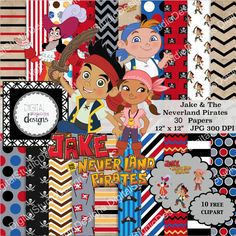 "Jake and the Never Land Pirates Digital Paper Pack- 30 Papers- 10 Clipart- Red, Blue, Black- 12""x12""- Printable Paper- Digital Scrapbooking-"