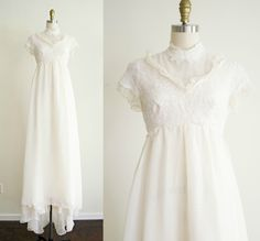 vintage 1950s bohemian ivory lace and chiffon victorian style wedding dress . Alfred Angelo 50s off white empire waist gown with train small by VelvetPinVintage on Etsy